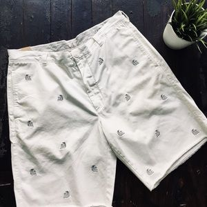 J. CREW Sailboat Embroidered Khaki Shorts 35 NEW
